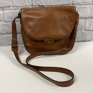 Fossil brown leather cross body bag purse